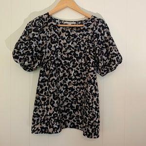 Ann Taylor LOFT Leopard Print Puff Sleeve Shirt-S